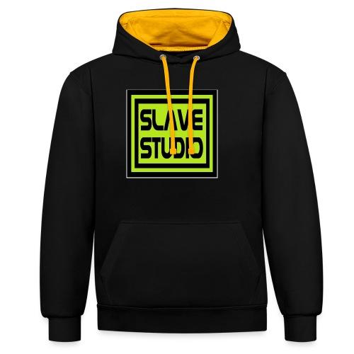 Slave Studio logo - Felpa con cappuccio bicromatica