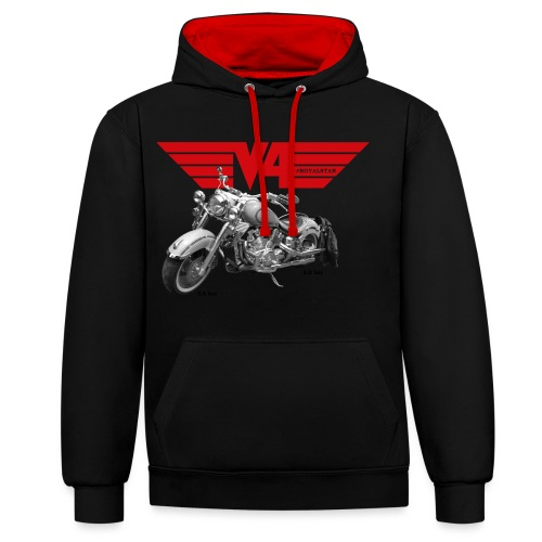V4 Motorcycles red Wings - Kontrast-Hoodie