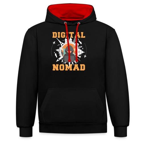Digital Nomad - Kontrast-Hoodie