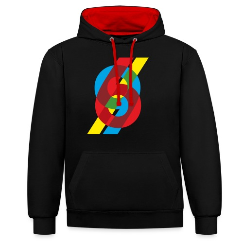 colorful numbers - Contrast Colour Hoodie