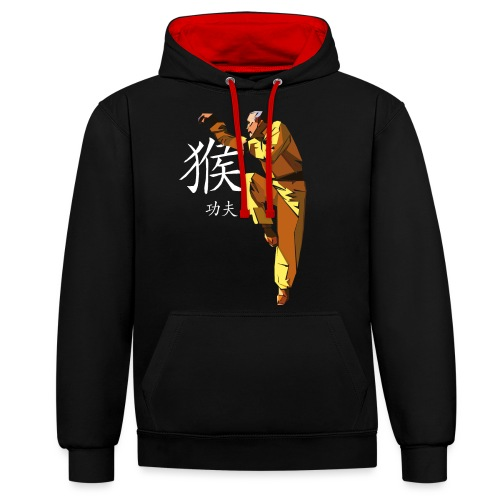 Monkey Style Kung Fu - Contrast Colour Hoodie