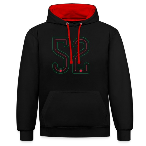52 Outline Number by Pelibol ™ - Kontrast-Hoodie