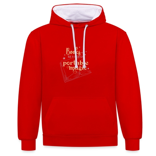 0029 books | Book | Reading | Reader | magic - Contrast Colour Hoodie