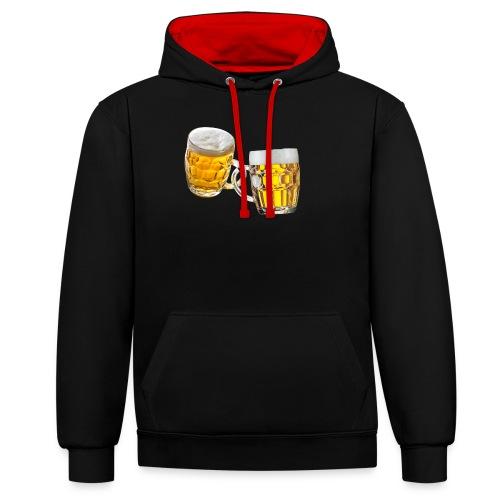 Boccali di birra - Felpa con cappuccio bicromatica