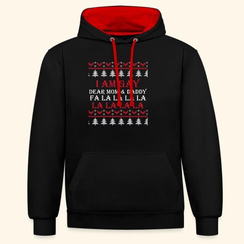 Gay Christmas sweater - Bluza z kapturem z kontrastowymi elementami