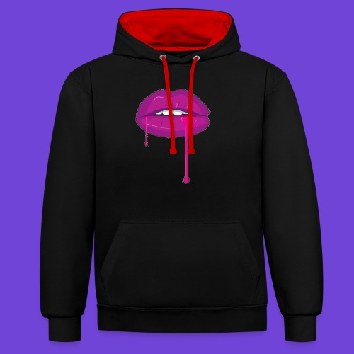 Purple Kiss - Felpa con cappuccio bicromatica