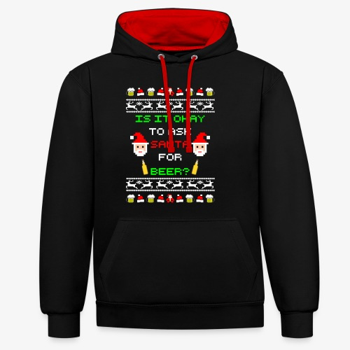 Ask santa for beer Ugly Christmas - Kontrast-Hoodie