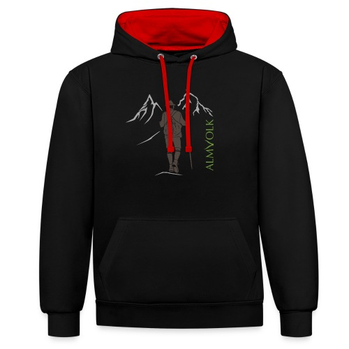 Herren-Shirt ALMVOLK Bergwanderer - Kontrast-Hoodie