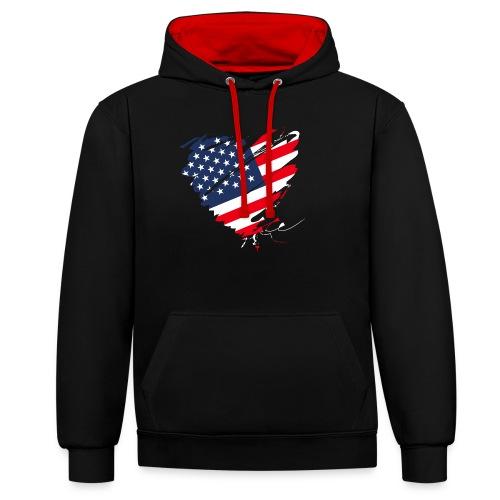 USA Amerika Sterne und Streifen Herz Grunge Flagge - Contrast Colour Hoodie