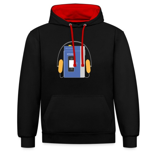 Stereo walkman in blue - Contrast Colour Hoodie