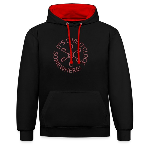 Dive o clock Dark Pink - Contrast Colour Hoodie