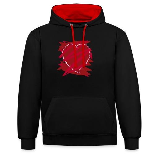 corazón enamorado, corazón roto - Sudadera con capucha en contraste