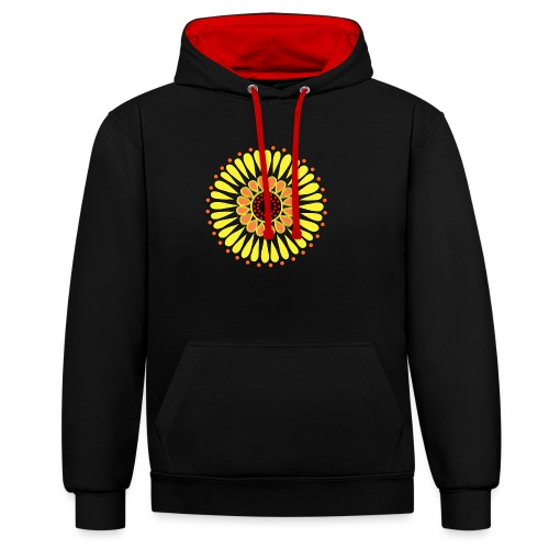Yellow Sunflower Mandala - Contrast Colour Hoodie