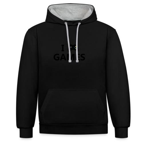 I Love Games 3 - Sudadera con capucha en contraste