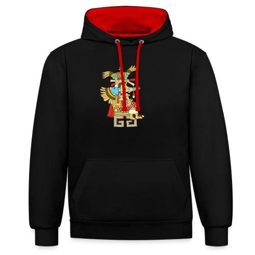 Xochiquetzal Aztec Aztekenmuster Hipster - Kontrast-Hoodie