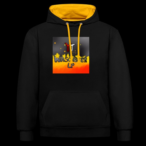 Waschbeer Design 2# Mit Flammen - Kontrast-Hoodie