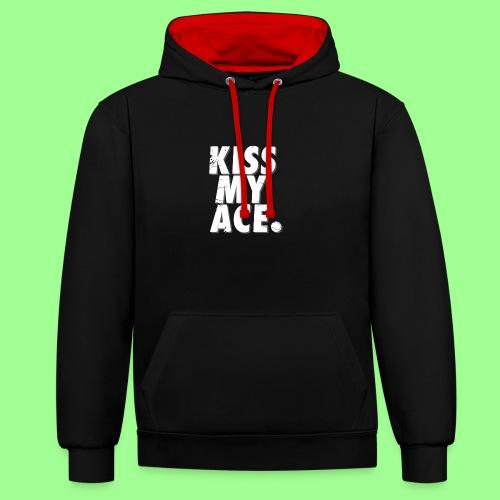 KISS MY ACE - Bluza z kapturem z kontrastowymi elementami