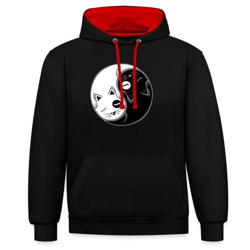 Yin Yang katze flex - Kontrast-Hoodie