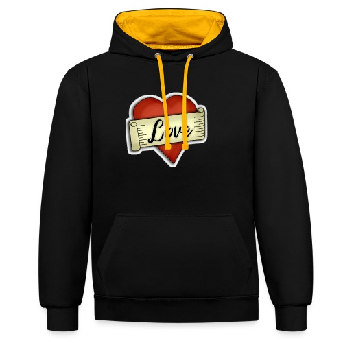 Love cœur tatouage - Sweat-shirt contraste