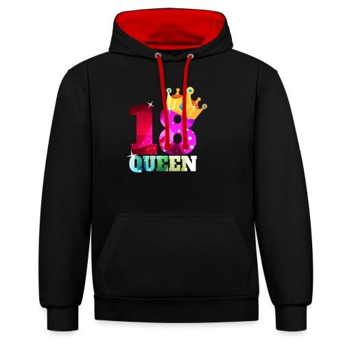 18. Geburtstag Queen - Kontrast-Hoodie