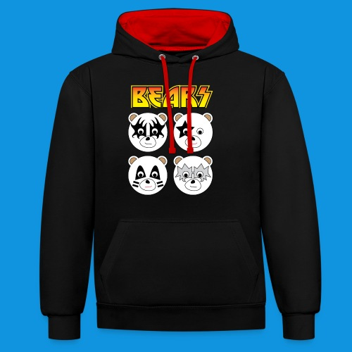 Kiss Bears square.png - Contrast Colour Hoodie