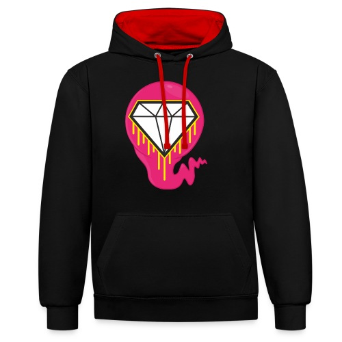 DIAMOND HEART PRINT SHIRT - Contrast Colour Hoodie