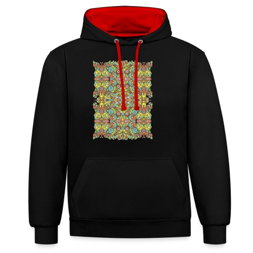 Weird creatures multiplying infinitely - Contrast Colour Hoodie