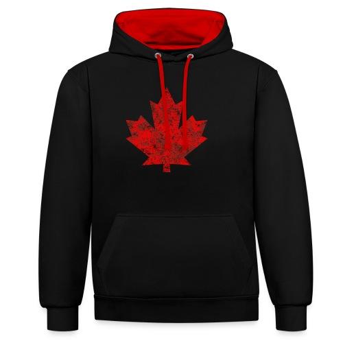 Kanada Canada Maple Leaf Ahornblatt Grunge Amerika - Contrast Colour Hoodie