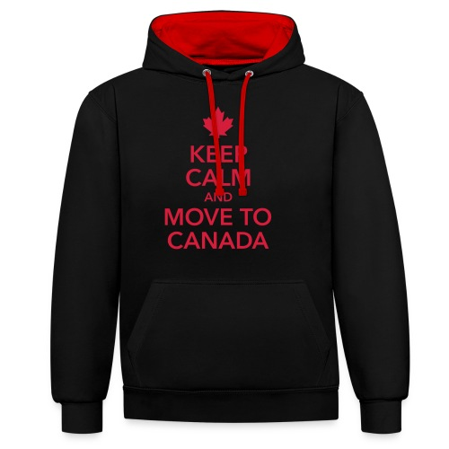 keep calm and move to Canada Maple Leaf Kanada - Contrast Colour Hoodie