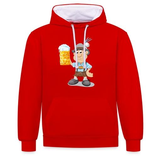 Bier Maßkrug Lederhosen Cartoon Man - Kontrast-Hoodie