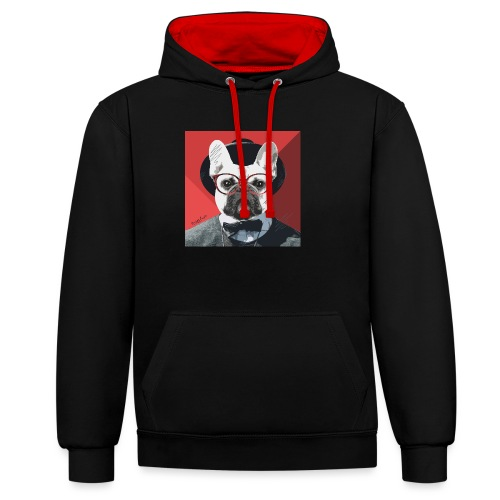 French Bulldog Artwork 2 - Kontrast-Hoodie