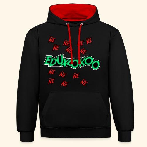 logo de eduxlokoo ñe - Sudadera con capucha en contraste