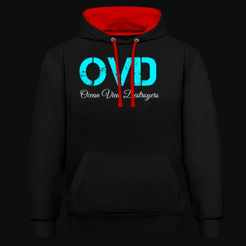 ovd blue text - Contrast Colour Hoodie