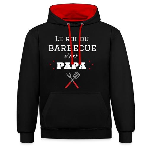 t-shirt fete des pères roi du barbecue c'est papa - Sweat-shirt contraste