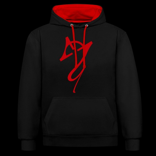 Overscoped logo red - Contrast Colour Hoodie