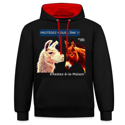 PROTEGEZ-VOUS L'ÂNE !! - Coronavirus - Sweat-shirt contraste