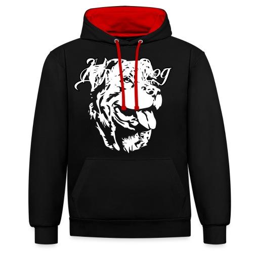 Rottweiler Kopf - Kontrast-Hoodie
