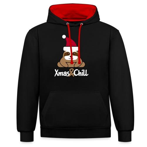 Faultier Weihnachten süß lustig Geschenk - Kontrast-Hoodie