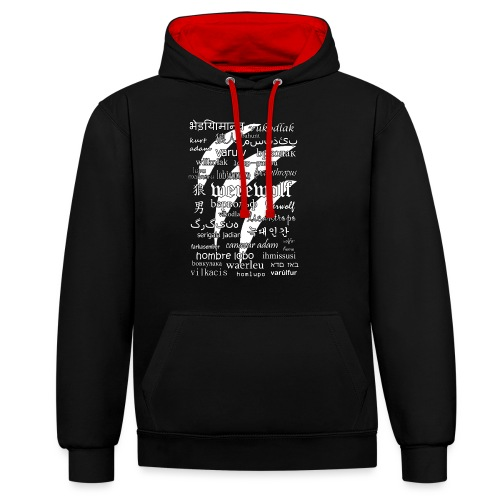 Werewolf in 33 Languages (Black Ver.) - Contrast Colour Hoodie