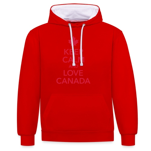 keep calm and love Canada Maple Leaf Kanada - Contrast Colour Hoodie