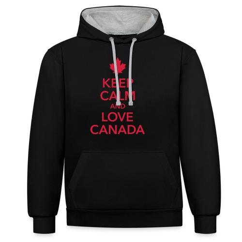 keep calm and love Canada Maple Leaf Kanada - Contrast Colour Hoodie