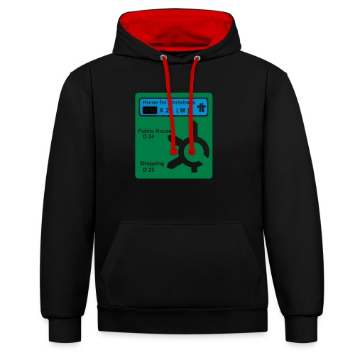 HOME_FOR_CHRISTMAS_SIGN - Contrast Colour Hoodie