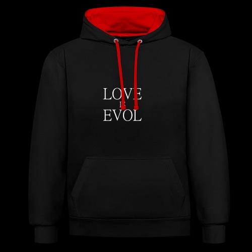 LOVE IS EVOL WHITE ON BLVCK - Felpa con cappuccio bicromatica