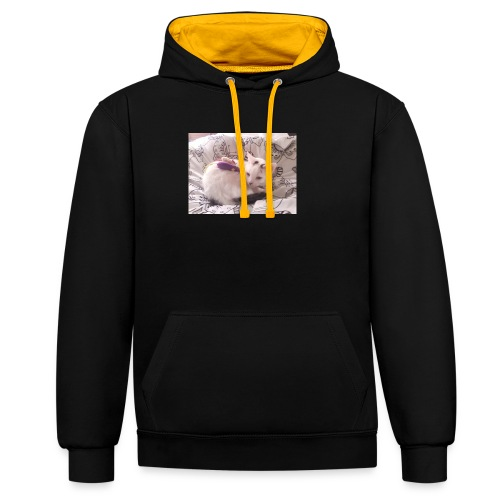 CAT SURROUNDED BY MICE AND BUTTERFLIES. - Contrast Colour Hoodie