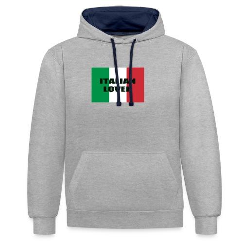 ITALIAN LOVER - Felpa con cappuccio bicromatica