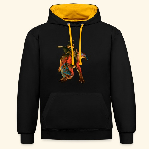 Dino Storm Cowboy - Contrast Colour Hoodie