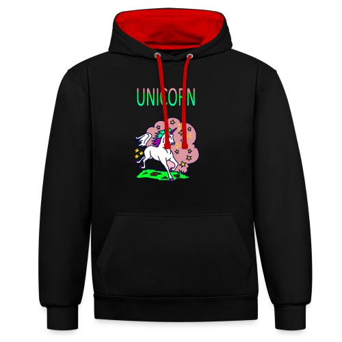 Einhorn unicorn - Kontrast-Hoodie