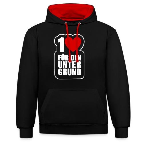 1 Herz für den Untergrund - Logo weiß - Kontrast-Hoodie