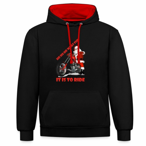 ho ho ho what fun - Contrast Colour Hoodie