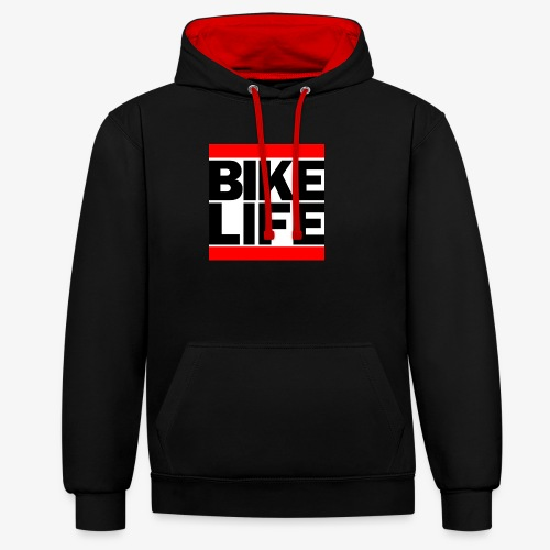 bikelife logo - Contrast Colour Hoodie